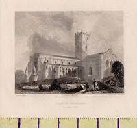 C1800 Antico Georgiano Stampa ~ San DAVID'S Cathedral ~Galles~ South West Vista