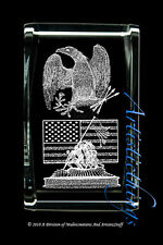 3D LASER CRYSTAL PAPERWEIGHT RAISING THE FLAG ON IWO JIMA -
