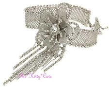 Plata Deco Gatsby Cordón Malla Flor Novia Gargantilla Cristales Swarovski