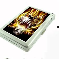 Cigarette Case with Built In Lighter Skull Design-020 Skull On Fire