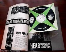 Cardboard 45RPM JAMES DEAN & ANTHONY PERKINS HEAR HOLLYWOOD 1957 Rare Magazine