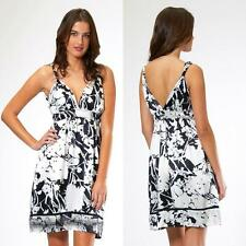 Hale Bob Dress Small 4 6 NWT Empire Black White Print Daydress Party $282