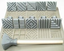 Pottery texturing ceramic clay tools: Rélyéf set of jumbo square stamps 30 x 30