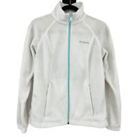 Women's Size Small White Green Zip Classic Benton Springs Full Zip Fleece Jacket