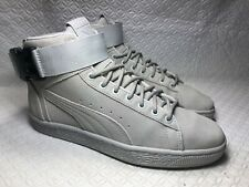 Puma Men's Gray Suede Leather High Cut Strap Sneakers Size-6