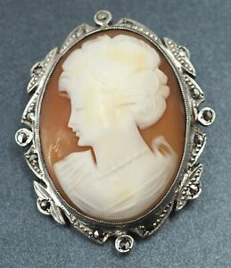 Vintage Womens Marcasite & Shell Cameo Brooch Sterling Silver 925 Fine Jewelry