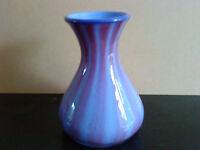 "Art glass vase - hand made - purple & pink decoration - 5.5"" tall"
