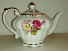 Beautiful Vintage Porcelain Tea Pot Rose Pattern with Built-in Music Box