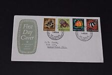 AUST 1966 FISH SET OF 4 ON  A/P GREEN SOLID SHIELD SHORT FIRST DAY COVER