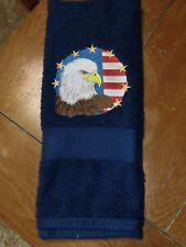 Embroidered Terry Hand Towel - 4th of July - Eagles Head W/Flag & Stars/Navy