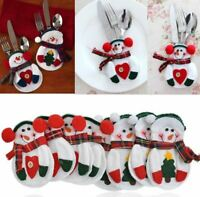 8pcs Christmas Santa Snowman Silverware Holder Pocket Holiday Party Decor Gift