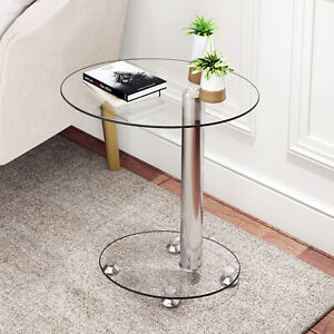 Clear Glass Coffee Table Sofa Side End Beside Laptop Table For Living Room Steel