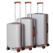 3-Piece Rolling Luggage Hardside with Wheels Silver Set 20/24/28'