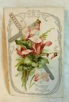 * Early Embossed Easter Postcard A HAPPY EASTER lily flowers and cross