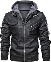 Casual Stand Collar Leather Zip-Up Biker Fashion Bomber Jacket removable Hood
