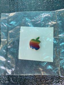 Apple Macintosh Computer Rainbow Logo Lapel Pin Pinback Vintage 1980's Made USA