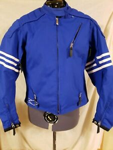 Women's Motorcycle Jacket Fitted  L Armored Blue White Stripes Full Zip Vents