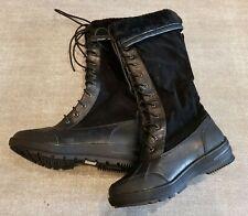 Size 3 (36) black faux suede lace up faux fur trimmed knee high boots