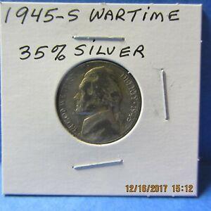 1945-S  Jefferson Head Nickel WAR NICKEL  35% Silver