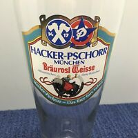 Vintage Hacker-Pschorr Munchen Braurosl Weisse 20oz Pislner Bier Beer Glass 0.5L