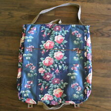 Vtg Laura Ashley Travel Garment Bag Floral Cotton Leather Carry On Luggage Tote