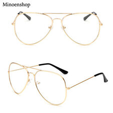 Gold Geek Nerd Clear Lens Pilot Glasses Fashion Teardrop Metal Frame Men Ladies