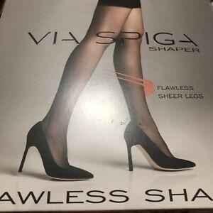 Via Spiga Flawless Shaper Black Size E Pantyhose Nylons Tummy Shaper SlimSupport