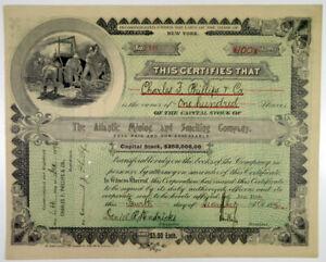 NY. Atlantic Mining and Smelting Co., 1896 I/U Capital Stock Certificate, VF