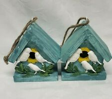 """Decorative Wooden Two Bird Houses 4"""" Tall for Decorations"""