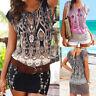 Fashion Womens Casual Short Sleeve Retro Print O-Neck Beach Mini Dress Or Tops