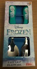 Zak Disney Frozen Elsa Easy Grip Flatware Kids Fork Spoon Set NEW NIB