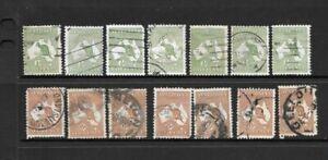 Stamps Australia Bulk Kangaroo Selection x 21 Good Used/Fine Used 1/2d, 6d