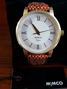 💕MIMCO WATCH VARSITY AMBER JET  LEATHER  GOLD HARDWARE NEW + MIMCO PAPER BOX