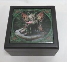 "Anne Stokes Collection Fantasy Art Tile Lined Wooden Box ""Mushroom Fairy"""""