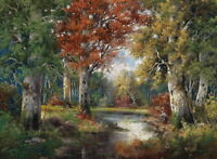 Canvas Print Forest Creek Landscape Oil painting Picture Printed on Canvas P011