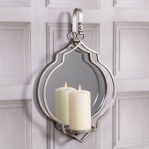 Silver Candle Holder Wall Hanger Large Mirror Modern Chic Metal Sconce Gift Home