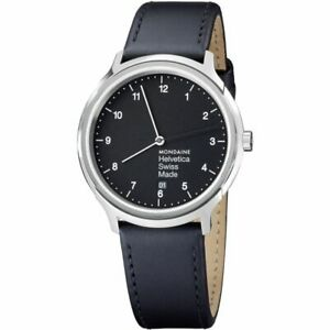Mondaine Helvetica , Black Leather Watch for Men and Women, MH1.R2220.LB,40mm