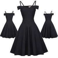 Off Shoulder Women Vintage A-Line Swing Pinup Cocktail Evening Party Dress S-XL