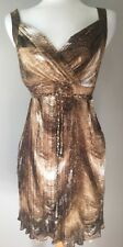 Womens SIONI Brown & Beige Lined Wrap Top Dress  Size 6