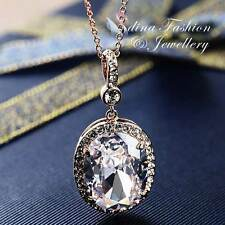 18K Rose Gold Plated Simulated Diamond Luxury Sparkling Large Oval Cut Necklace