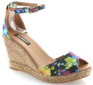 Damen High Heels Sandalen Gr.38 bunt Sandaletten Keilabsatz Bastabsatz Gr. 38