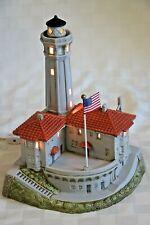 Signed Lefton 1997 Historical Alcatraz Lighted Lighthouse W/Orig Stickers & Box