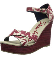 Skechers Bomb Shell Wedge Heels Sandals Size 8 Red Ikat Print