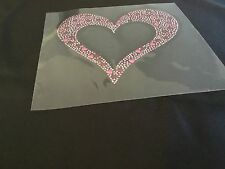 Rhindstud Floating Heart with Hot Pink & Red  Metal Hearts  Hot FiX Transfer,