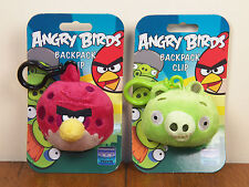 Angry Birds 2-LOT Red Big Brother & Green Pig Backpack Clips Keychains **NEW**