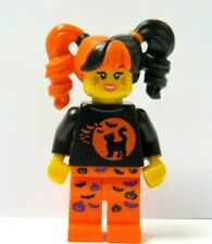 Lego Girl Minifigure  Halloween Outfit Bat Pumpkin Cat Moon  Reversible Head