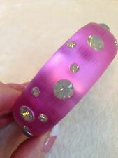 ALEXIS BITTAR Pink Lucite Bangle Bracelet - White Iridescent Opaque Stones, MED