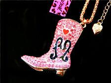 Betsey Johnson cute fashion crystal enamel High-heeled boots Pendant Necklace