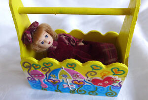 HANDMADE WOOD PAINTED BABYS CRADEL IN  BLUE AND YELLOW  FOR DOLL HOUSE HOMEDECOR