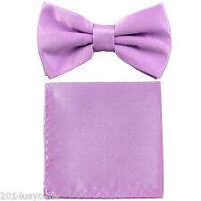New Lavender Lilac Men's pretied Bow tie & Pocket Square Hankie set wedding
